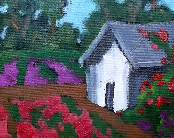 Miniature Impressionist Oil Painting 4x4 Plein Air California Farm Flower Garden Landscape Lynne French Art