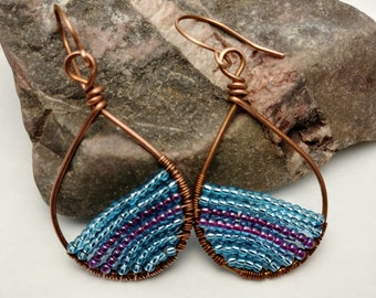 Copper Beaded Teardrop Earrings