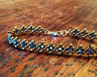 Bronze & blue crystal tennis bracelet, blue crystal bracelet, blue tennis bracelet, bronze tennis bracelet, bronze tennis bracelet