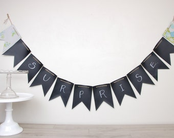 Chalkboard Oil Cloth Party Banners Buntings & Flags