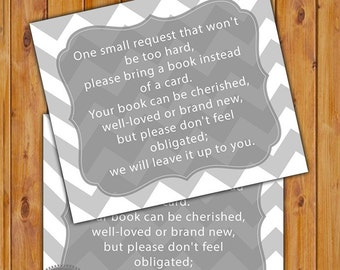 In Lieu of card, Book Baby Shower Invitation Inserts Instead of a card Grey Chevron Printable PDF--Instant Download