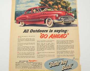 Vintage Buick Car Ad, All Outdoors is Saying Go Ahead, Better Buy Buick, Original Advertising, 1950