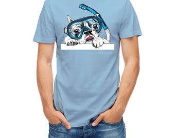 T-shirts Cute Portrait Of French Bulldog In Diving Mask diver scuba 26362