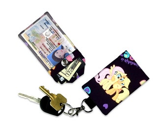 Apple Jack & Fluttershy My Little Pony Mini Wallet Card Holder Keychain Clear ID Holder Accessory Bag Wallet Student ID Badge Credit Card