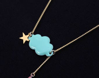 Necklace green cloud of water drop rose and Star Gold