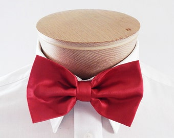 Mens Bow Tie Red Solid Banded Pre Tied Bow Tie