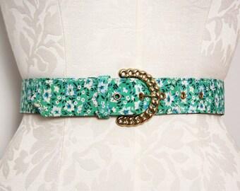 Women's Vintage Belt. Floral Belt. 1970s Belt. 70s Belt. High Waist Belt. Gold Belt Buckle. Chain Belt. Green Belt. Retro Fabric Belt Medium