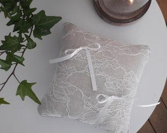 Pillow ring bearer - beige lace