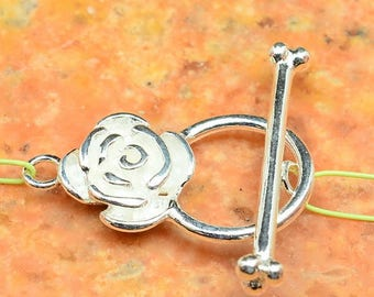 Beautiful flower sterling silver toggle clasp