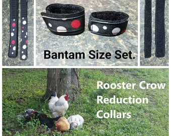 1 set BANTAM Rooster Crow Reduction Collars - dots