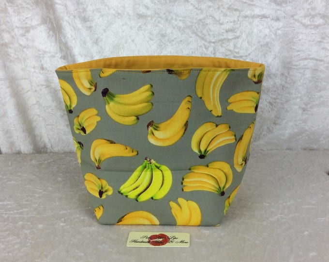 Handmade Fabric Basket Storage Bin Tall Bananas