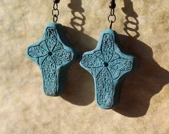 Blue Cross Earrings - Polymer Clay Cross Earrings - Handmade Cross Earrings - Clay Cross Jewelry - Dangle Cross Earrings - Easter Earrings