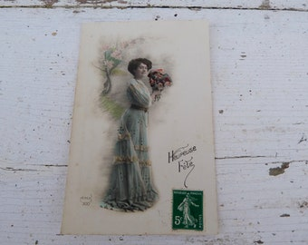 Antique 1900/1910s postcard  French real photo recolored women with bouquet