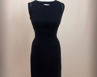 1950s Black Linen Dress * Black Dress * 50s Dress * 1950s Dress * Wiggle Dress * Sleeveless Dress * Morton Bregman
