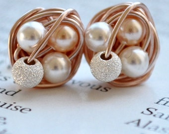 Petite Mix it Up Series - Rose Gold Wire Wrapped Stud Earrings With Stardust Beads and White / Peach Swarovski Glass Pearls - VDazzled