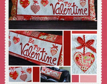 Valentine Pillow Pattern, Be My Valentine Bench Pillow KD166 Kimberbell, Valentine Decor Pattern, Valentines Day Pattern, 16 x 38