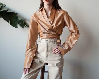metallic gold silk wrap blouse / silk shirt / deep v blouse / m / l / US 12 / 3499t / B18
