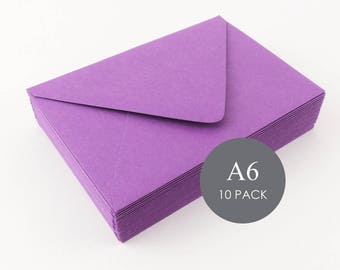 """A6 Euro Flap Envelopes - 4 3/4"""" x 6 1/2"""", Purple , sold in sets of 10"""