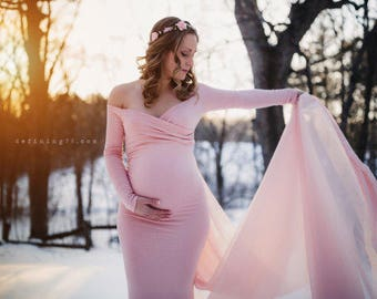 Maternity Gown-Maternity Dress for Photo Shoot-Baby Shower Dress-Long Sleeve Maternity Dress-Maxi Gown-Fitted maternity Dress-ABIGAIL Dress