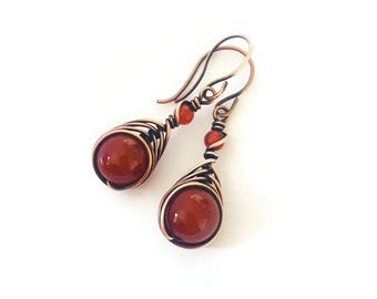Small carnelian earrings - copper wire earrings - wire wrap earrings - orange gemstone earrings - wrapped stone earrings - carnelian jewelry