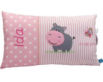 Personalisiertes Kissen zur Geburt oder Taufe, mit Motiv Nilpferd, in rosa, aus Baumwollstoff, ein tolles Kuschelkissen, für Kinder.