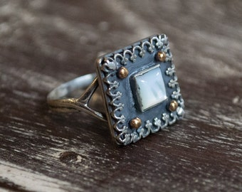 Shell ring, Filigree ring, Silver gold ring, cocktail ring, white stone ring, square ring, statement ring, crown - Deep emotions R2256