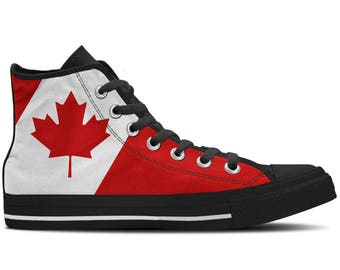Canada - Canadian Flag Men's High Top Sneakers / Custom Canvas Shoes