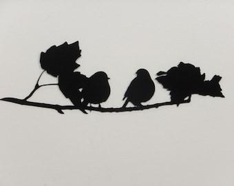 Birds on a Branch 1 Silhouette - Metal Wall Art - Black - (DD9---)