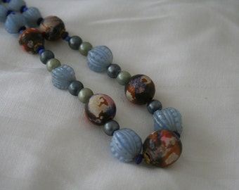 Shabby Chic Blue- and Multi-colored Beaded Necklace