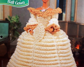 17th Century Ball Gown By Hazel Furst And Annie's Fashion Doll Crochet Club Vintage Crochet Pattern Pattern Leaflet 1995