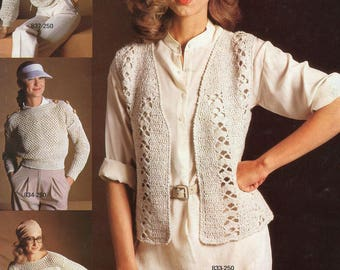 FREE US SHIP Vintage 1970's Knit Crochet Bernat Linette Book No. 250 1979 Men Miss Sweaters Camisoles Cardigans Size 8/18 Men Chest 36-46