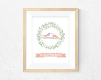 Floral Just Married Print, Initial Alphabet Print, Printable Wall Art, Custom Print, Instant Download, Nursery Print, Wedding Print