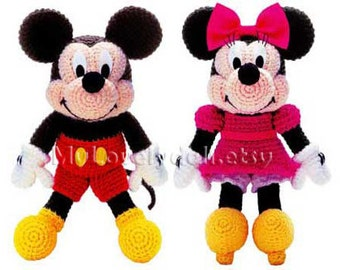 Mickey Mouse & Minnie Mouse Amigurumi Crochet PDF Pattern in English