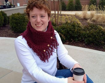 Crocheted Buttoned Cowl ~ Crocheted Scarf ~ Warm Winter Cowl ~ Handmade ~ Hand Stitched Winter Accessories ~ Vintage Buttons ~ Bobble Stitch