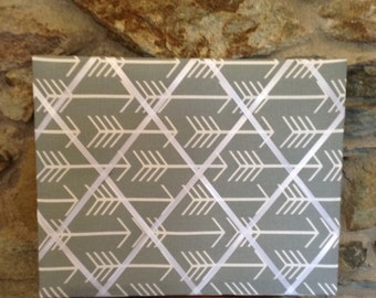 Arrow French memo board, 16x20 Gray and white arrow memo board , message board, memory board