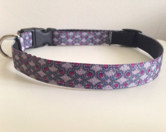 Gray and Pink Shapes 5/8 inch Dog Collar