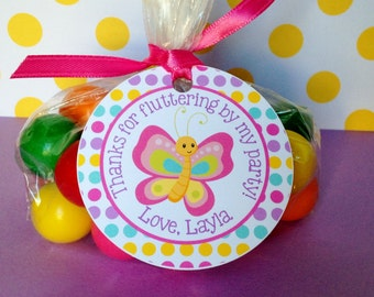 Butterfly Favor Tags, Butterfly Thank You Tags, Butterfly Party Tags, Butterfly Birthday Tags, Butterfly Treat Tags, Set of 12