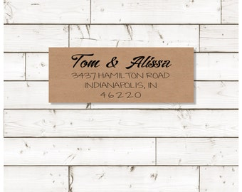 Return address label, address label, custom return address label, brown kraft label, rectangular label, wedding announcements - SET OF 30