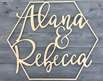 """Personalized Small Hexagon Names Sign 14""""W x 12""""H inches, Wooden Sign, Geometric Custom Wedding Sign, Custom Name Sign, Small Wood Name Sign"""