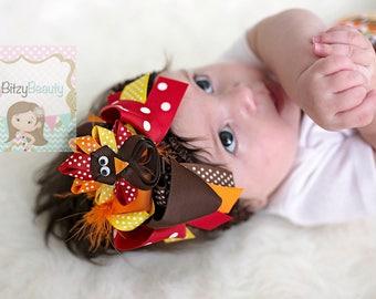 Girls Thanksgiving Headband - Turkey Day Hair Bow - OTT Feather Hair Bow - Turkey Hair Clip - Thanksgiving Hair Clip