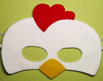 Rooster felt mask for kid - white red yellow - farm animal chicken costume for boy girl - handmade Dress up play accessory Theatre roleplay