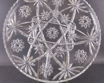 """Vintage 13.5"""" Anchor Hocking Clear Glass """"Star of David"""" 5 Part Relish Serving Tray Plate  EAPC (Prescut)"""