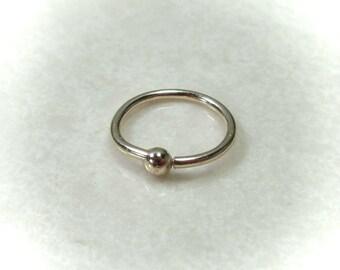 Nose Rings 14k Gold Ball - Nose Ring, Gold Nose Ring, Hammered Nose Ring, Delicate Nose Ring, Discreet Nose Ring, 14k Gold Ring