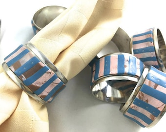 Turquoise napkin rings, chrome with polymer stony stripes