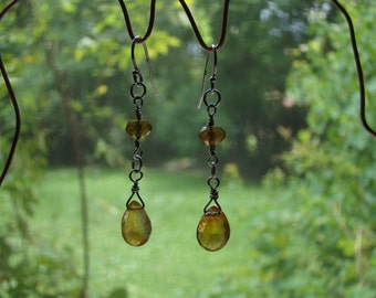 Handmade Citrine, Gold Tourmaline, and Sterling Silver Earrings