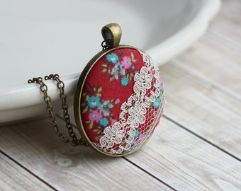 Bohemian Jewelry, Red Boho Necklace, Colorful Unique Necklace for Women, Retro Cute Jewelry, Hippie Wedding, Floral Fabric Pendant