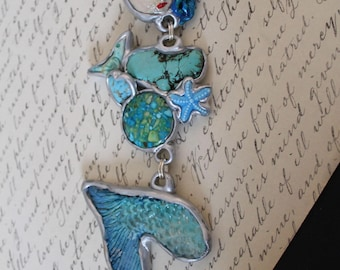 Mermaid necklace pretty face Art To Wear Ooak Goddess swimming  Pretty star fish accents turquoise and silver color