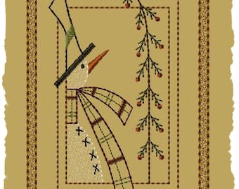 Primitive Machine Embroidery Design-Frosty's Pine--Version 2--(5 x 7)-INSTANT DOWNLOAD