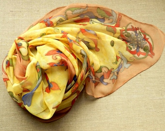 Hand painted silk scarf  Armenian medieval bird alphabet.Made to order. Free worldwide shipping.