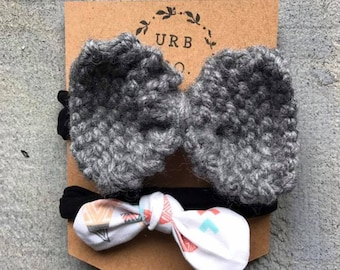 One Knit and Cotton Floral Headband set